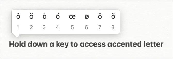 Всплывающие буквы всплывают в клавиатуре Mac
