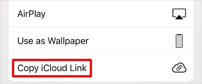 Скопируйте iCloud Link кнопку в iPhone Share Sheet