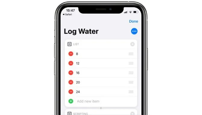Ярлык Siri Log Water