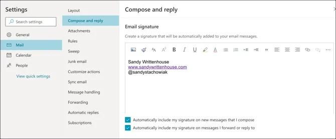 Outlook Web Signature