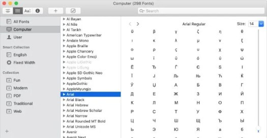Special characters for Arial in Mac Font Book