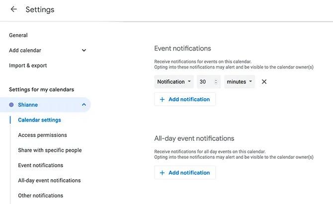 Установить уведомления по умолчанию в календаре Google
