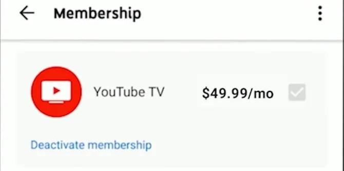 Отключение YouTube TV на Android
