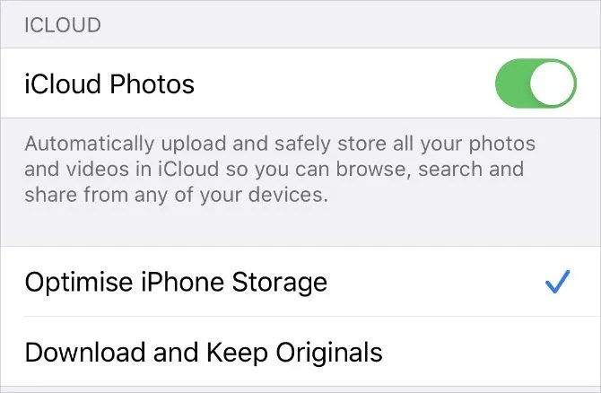 iCloud Photos settings on iPhone