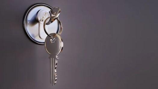 two keys in a door lock