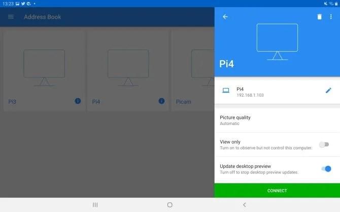 Используйте VNC с Android в качестве монитора для Raspberry Pi