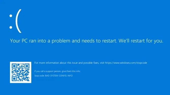 Ваш компьютер столкнулся с проблемой и должен перезагрузить ошибку