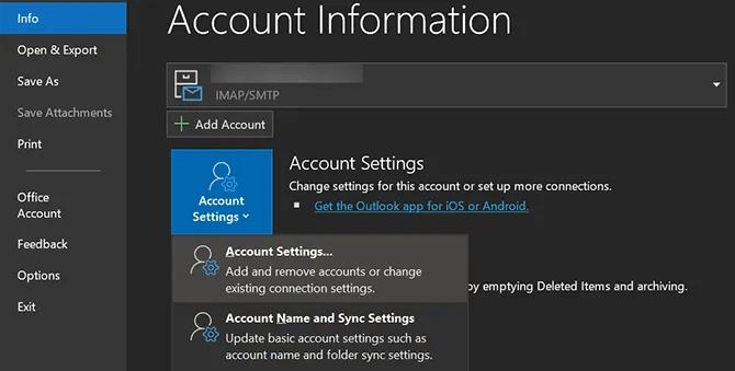 доступ к настройкам учетной записи Outlook