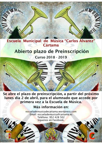 Cartel Preinscripción Escuela Música 2018 2019