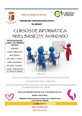 Cartel curso informática CPA El Sexmo febrero 2018