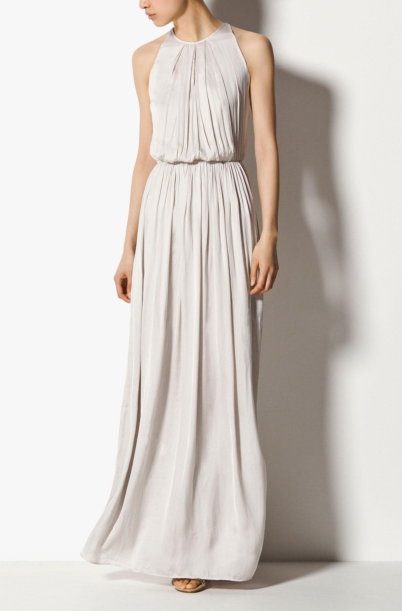 vestido comprido branco massimo dutti