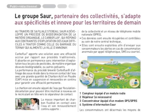 Extrait des deux pages de publi-rédactionnel consacrée à la Saur dans la lettre du député Olivier Dussopt de janvier 2011.