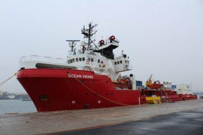 L'« Ocean Viking » à quai, au port de Marseille, avant la reprise de ses opérations de sauvetage en janvier 2021. © NB