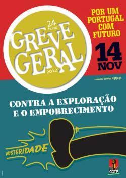 Affiche de la CGTP appelant à la grève générale le 14 novembre prochain.