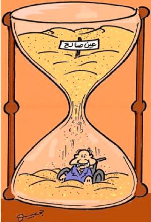 Caricature représentant le président Bouteflika sous le sable d'In Salah