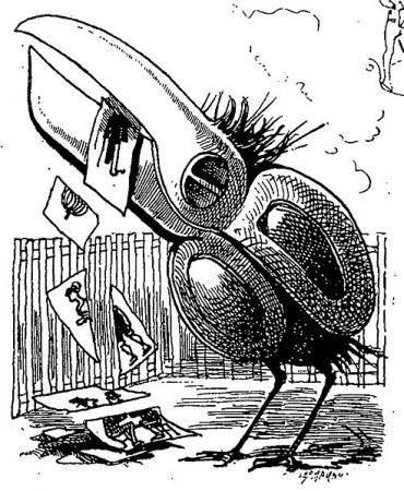 Censure (Anastasie), illustre engin liberticide français. Dessin de Léon Bienvenu, 1874.