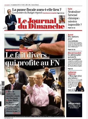La une du Journal du Dimanche, le 15 septembre 2013.