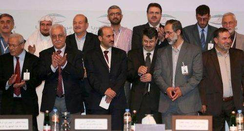 Avec des représentants de l'opposition à Doha.