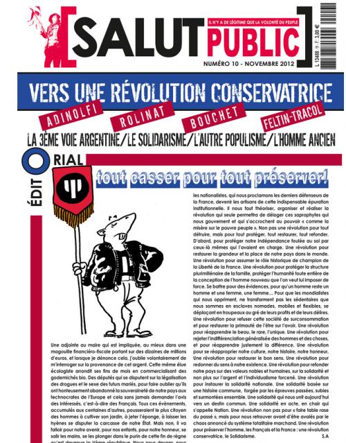 La une de Salut Public (novembre 2012), le journal de Serge d'Ayoub, où Christian Bouchet apparaît parmi les auteurs.
