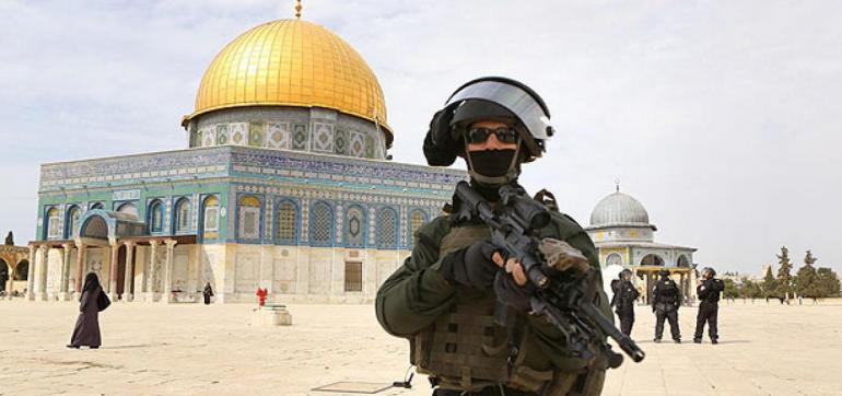 Forces de sécurité israéliennes sur l'Esplanade des mosquées.