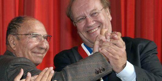 Serge Dassault avec son bras droit Jean-Pierre Bechter, actuel maire de Corbeil.