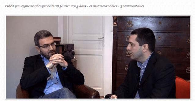 Entretien d'Aymeric Chauprade par Xavier Moreau, en février 2013.