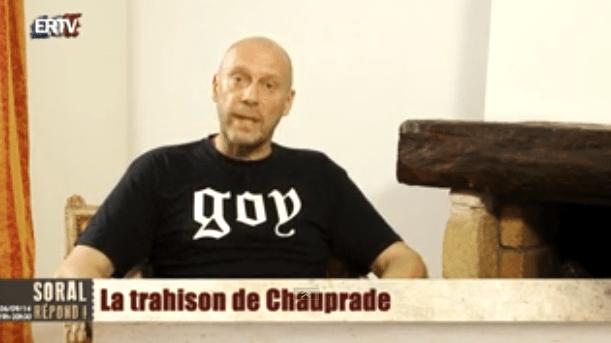 Alain Soral dans sa vidéo consacrée à Aymeric Chauprade, en septembre.