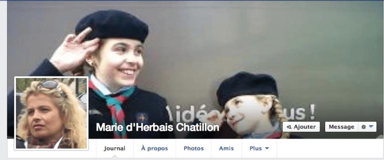 L'un des deux comptes Facebook de Marie d'Herbais, qui fut longtemps la femme de Frédéric Chatillon.