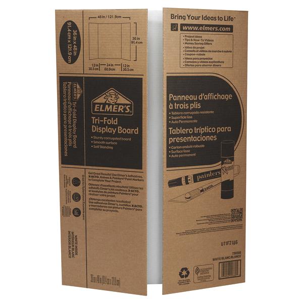 Elmers 36x 48 Corrugated Tri Fold Display Board White