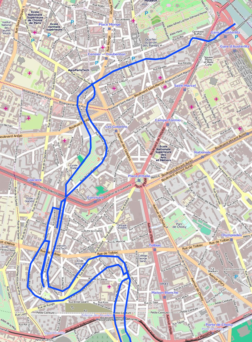 Here is a map of where the Bièvre runs underneath Paris today: