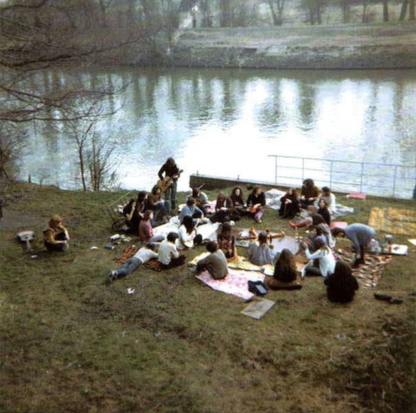 Hippy gathering on the banks of Eel Pie Island c. 1970
