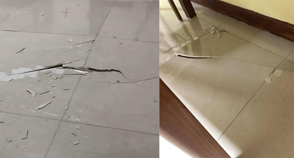 popping cracking floor tiles