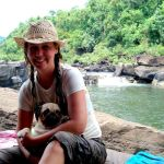 Barb Eason with pug Chook in Koh Kong