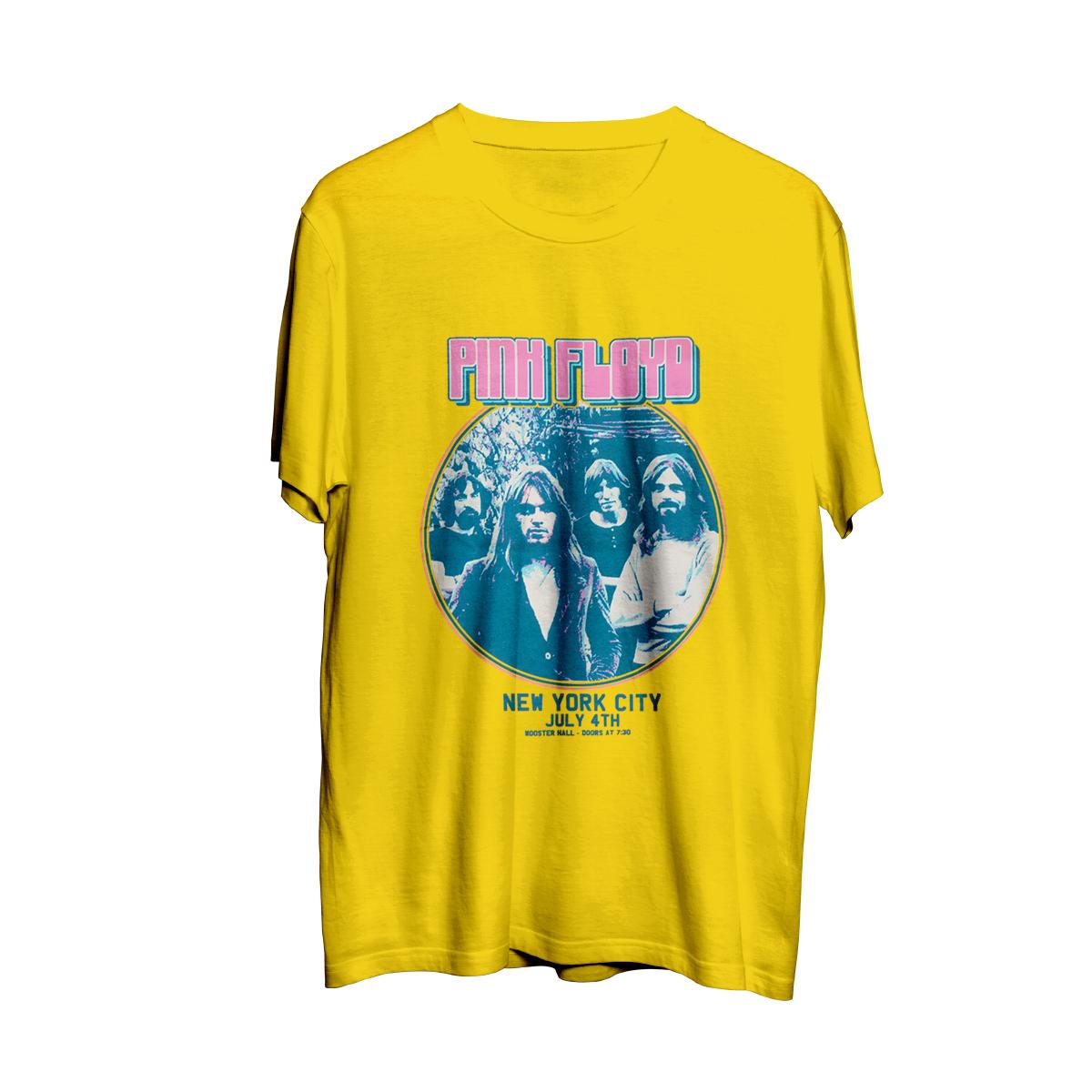 Pink Floyd New York City July 4th Circle Logo Yellow T