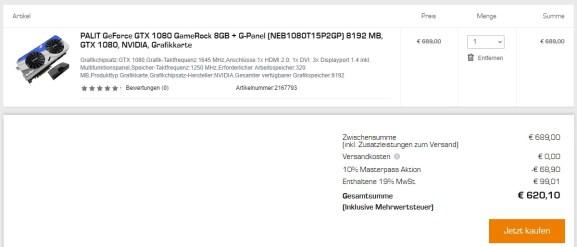 Palit GeForce GTX 1080 GameRock für 620,10€