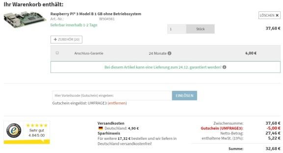 Raspberry Pi 3 Model B für 32,68€