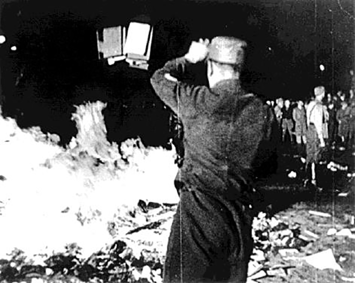 the death of knowledge: The disturbing and violent events taking place in Europe in Nazi Germany in the 1930s, including book burnings like this one, impacted all levels of life at the time—right down to what sorts of metaphors scientists used to describe their work. US National Archives