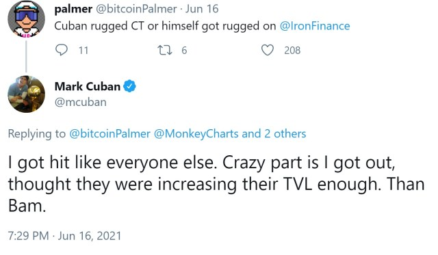 Mark Cuban was hit by the collapse of the Iron Finance token, calling for Defi regulation