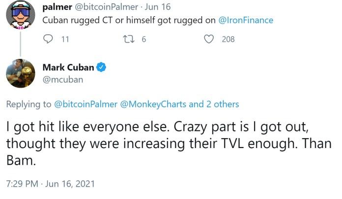 Mark Cuban Hit by Iron Finance Token Crash, Calls for Defi Regulation