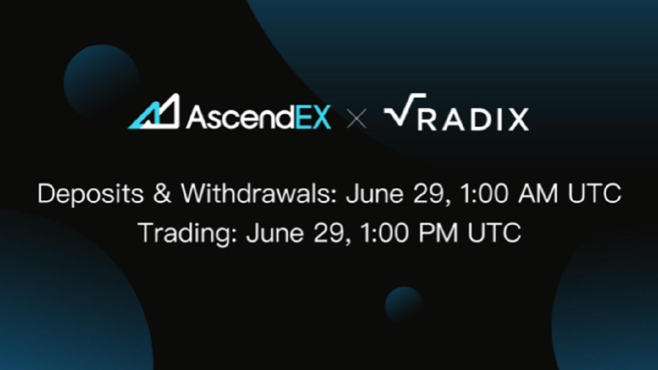 AscendEX Lists Radix - a DeFi Protocol With Developer Incentives