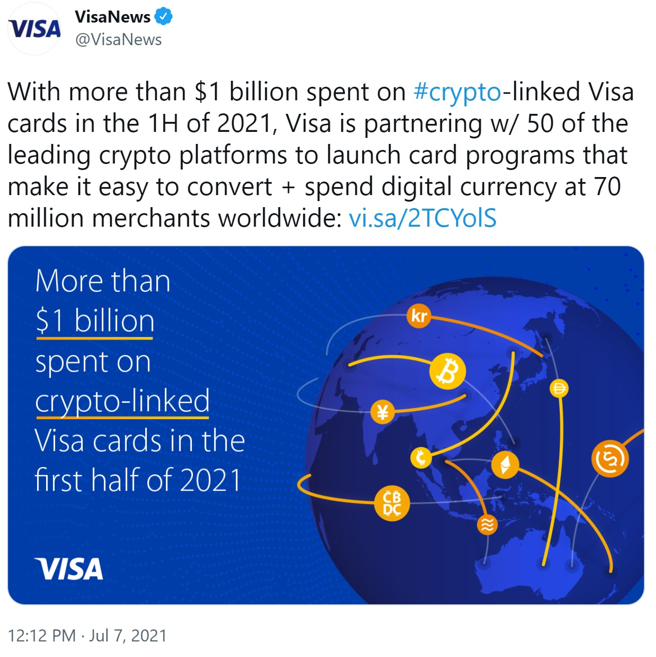 Visa and 50 Crypto Platforms to Enable Cryptocurrency Payments at 70 Million Merchants