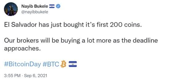 El Salvador begins bulk buying Bitcoin before BTC becomes legal tender tomorrow