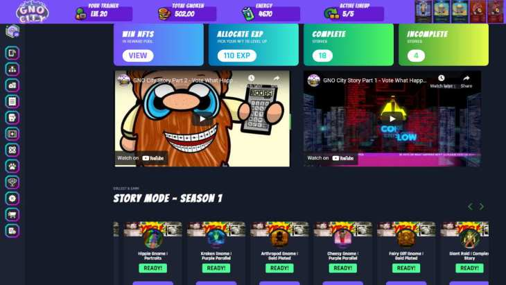 Play-to-Earn Tokens e NFTs em GNO City - um jogo diversificado em BLOCKCHAIN WAX