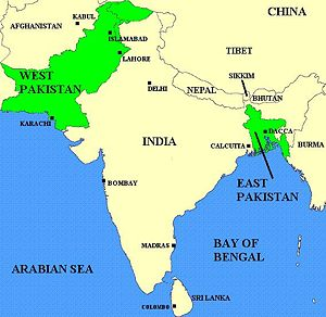 Image result for map of pakistan and bangladesh before break up