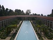 Fountain and courtyard of the Getty Villa.