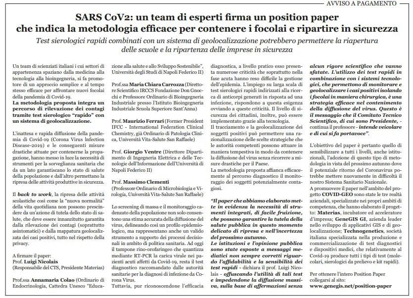 annuncio a pagamento test sierologico sars-cov-2