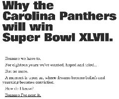 Ryan Kalil bought a full-page ad in a newspaper promising a Super Bowl win.