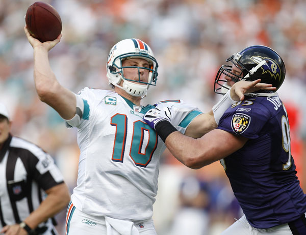 Chad Pennington under pressure by the Ravens defense (NFL.com).