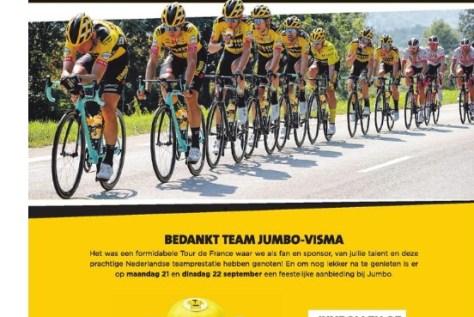 """O patrocinador principal Jumbo concede aos clientes do supermercado um desconto após o deslumbrante Tour de France: """"Bom trabalho em equipe"""""""