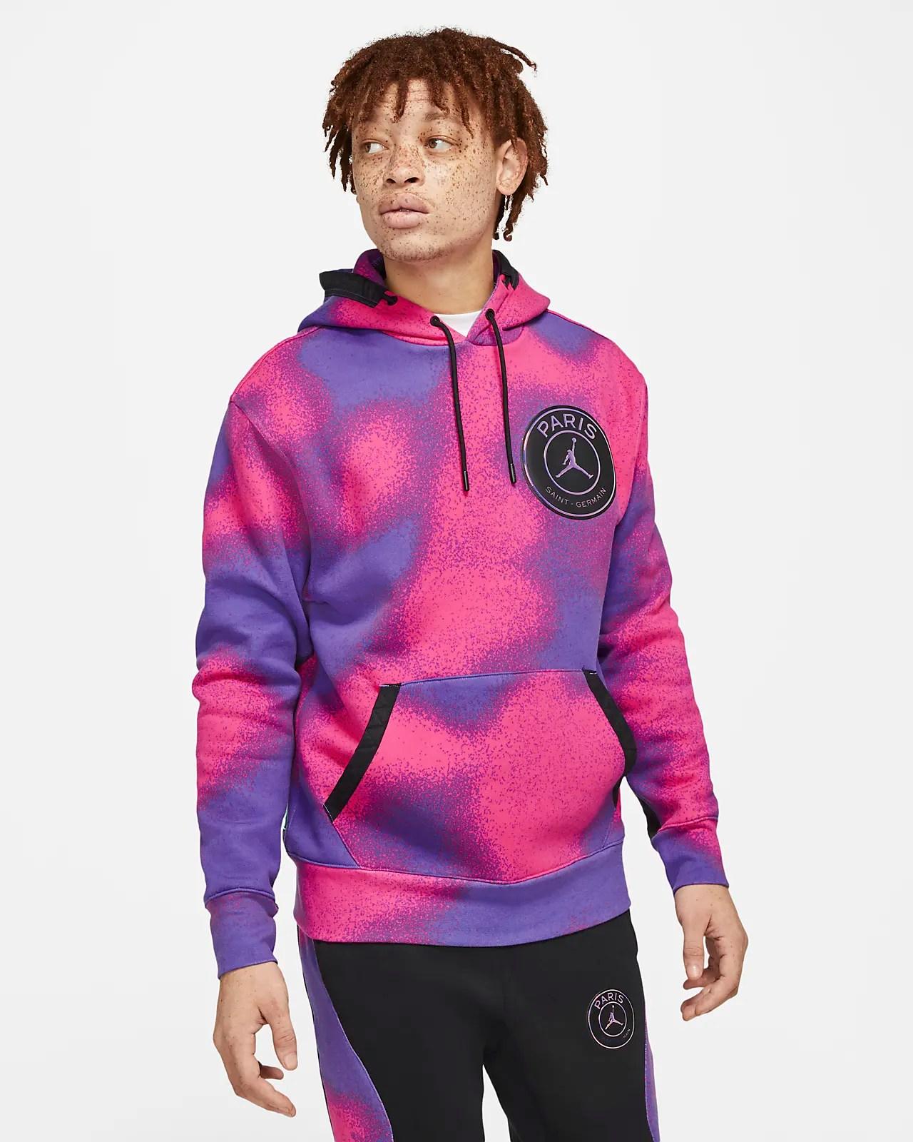 paris saint germain fleece hoodie mit print fur herren